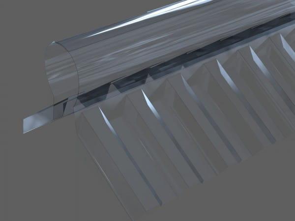 Firstprofil PVC farblos - Trapez 70/18 in 1106 mm   zweiteilig   für Trapezplatten
