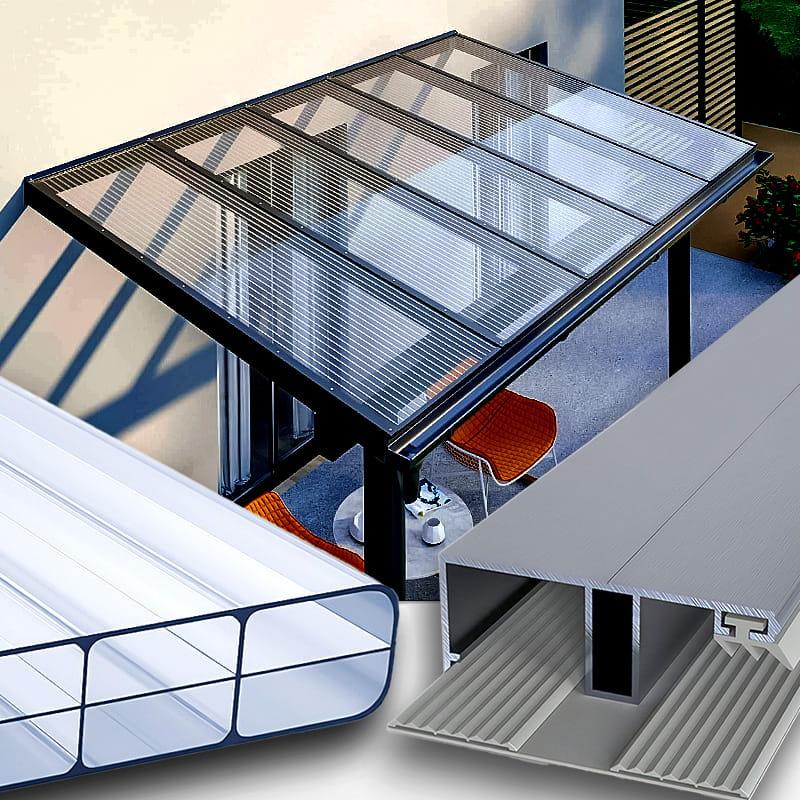 Terrassendach Alu-Gummi Profilsystem