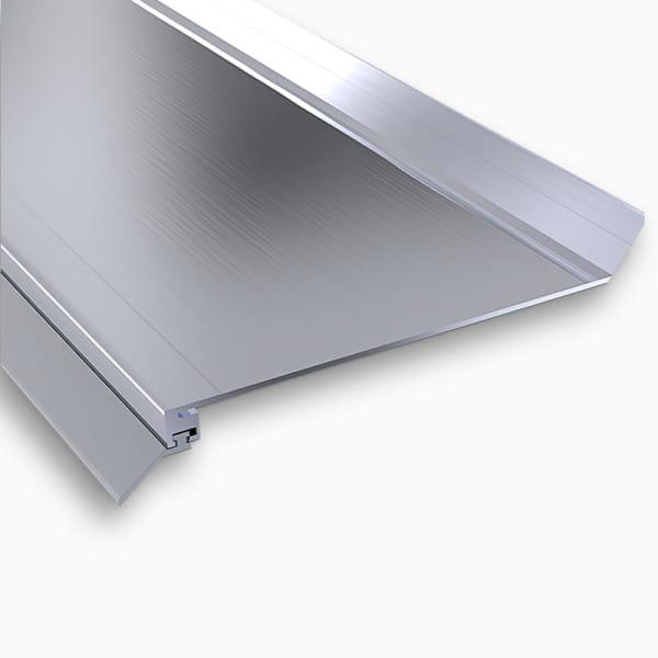 Wandanschlußprofil Aluminium preßblank   Breite ca. 100 mm mit langer Dichtlippe